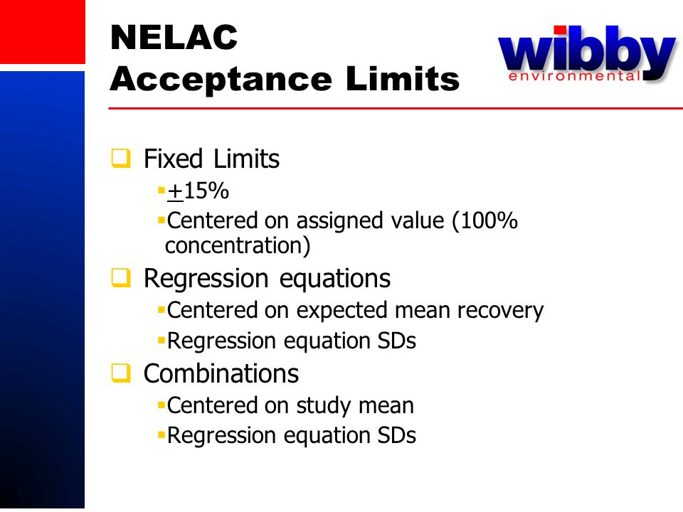 NELAC Acceptance Limits Fixed Limits +15% Centered on assigned value (100% concentration) Regression equations Centered on expected mean recovery Regression equation SDs Combinations Centered on study mean Regression equation SDs