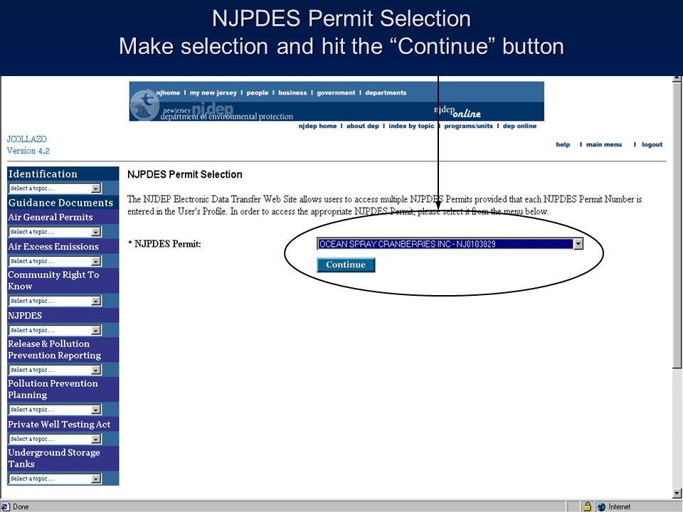NJPDES Permit Selection Make selection and hit the Continue button