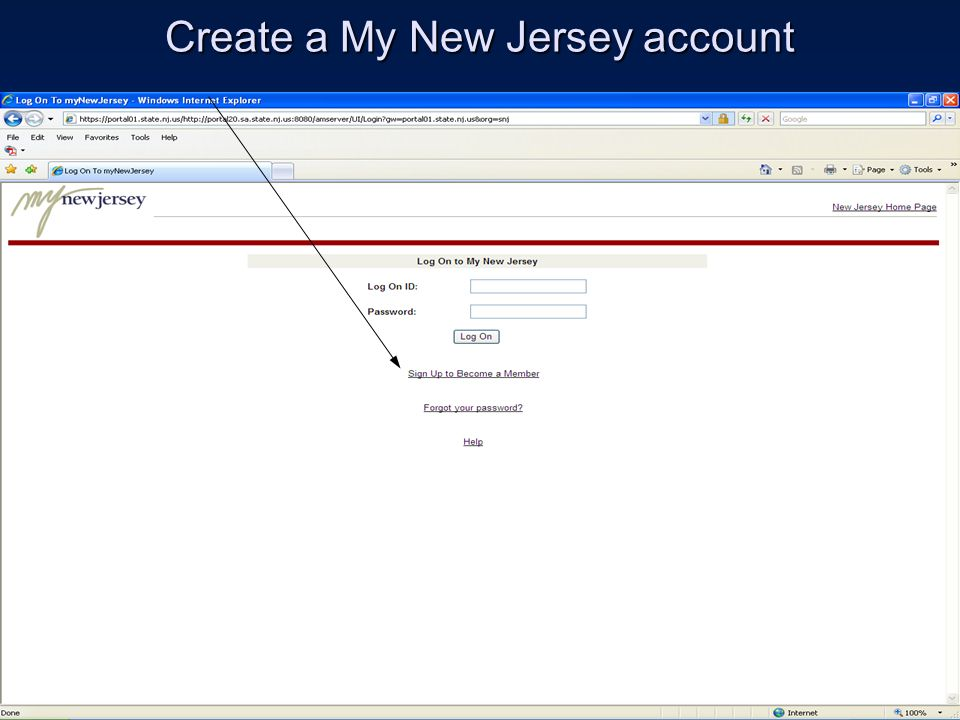 Create a My New Jersey account