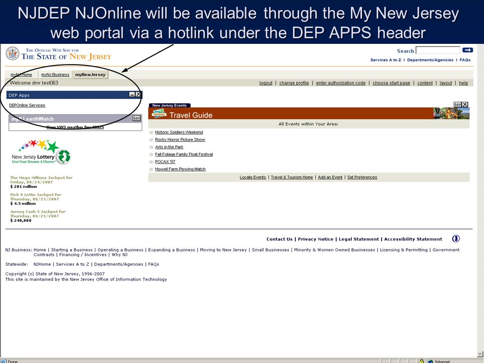 NJDEP NJOnline will be available through the My New Jersey web portal via a hotlink under the DEP APPS header