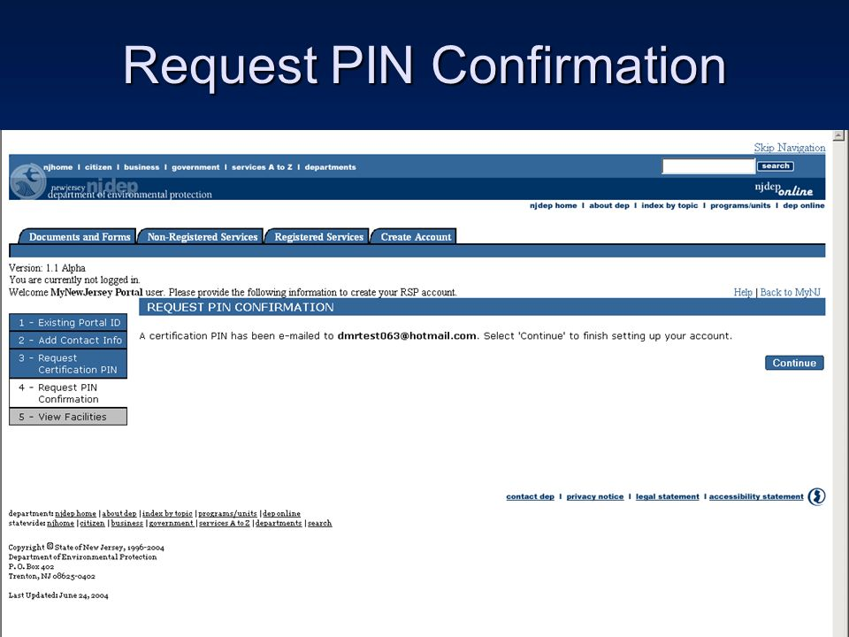 Request PIN Confirmation