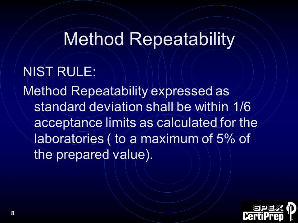 8 Method Repeatability NIST RULE: Method Repeatability expressed as standard deviation shall be within 1/6 acceptance limits as calculated for the laboratories ( to a maximum of 5% of the prepared value).