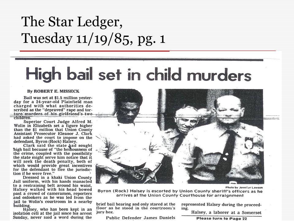 The Star Ledger, Tuesday 11/19/85, pg. 1