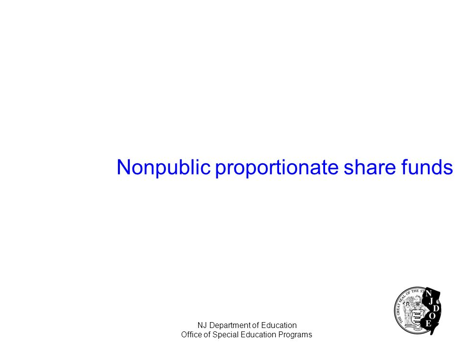 Nonpublic proportionate share funds NJ Department of Education Office of Special Education Programs