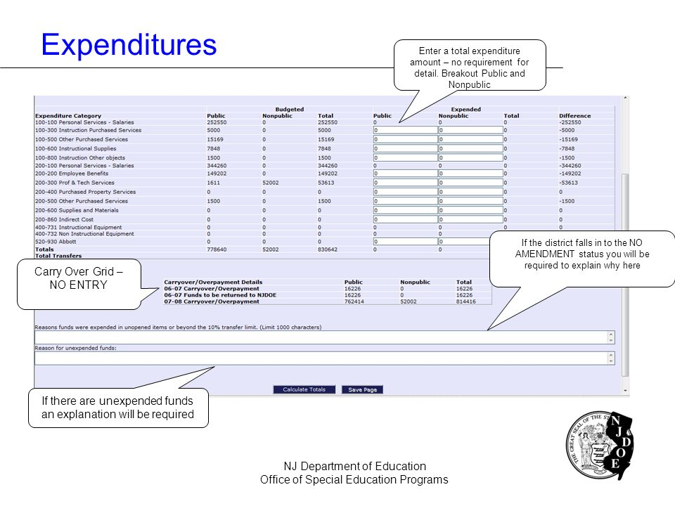 Expenditures NJ Department of Education Office of Special Education Programs Carry Over Grid – NO ENTRY Enter a total expenditure amount – no requirem