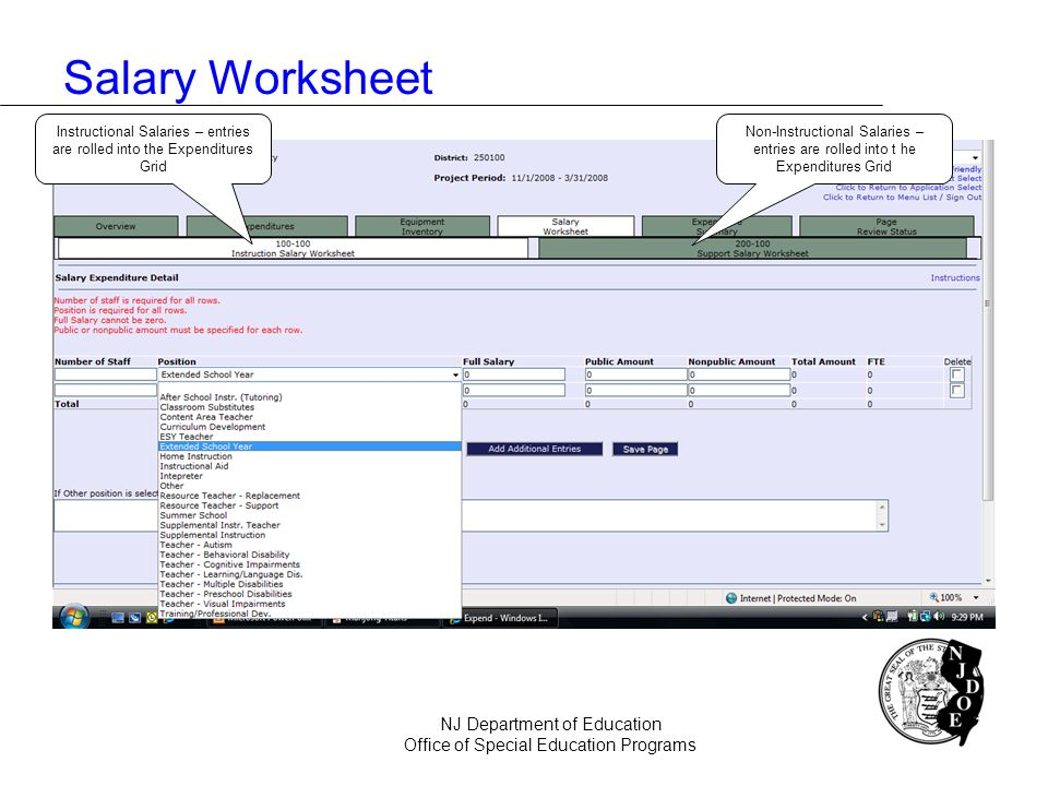 Salary Worksheet NJ Department of Education Office of Special Education Programs Non-Instructional Salaries – entries are rolled into t he Expenditure