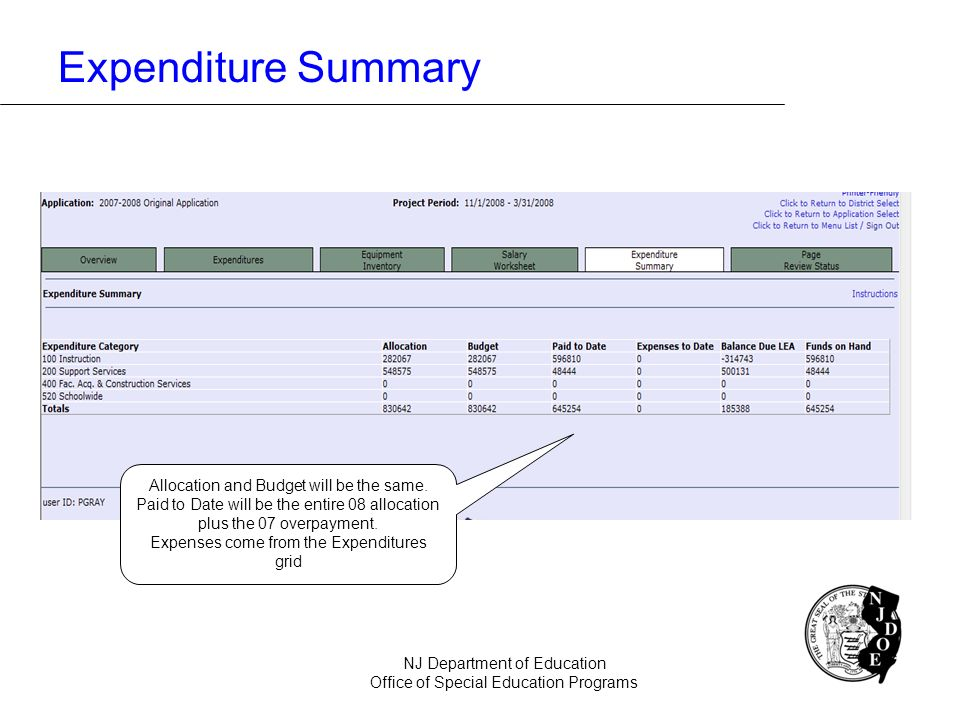 Expenditure Summary NJ Department of Education Office of Special Education Programs Allocation and Budget will be the same. Paid to Date will be the e
