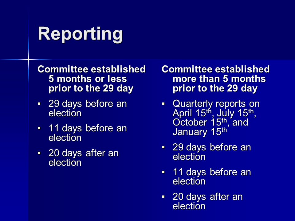 Reporting Committee established 5 months or less prior to the 29 day 29 days before an election 29 days before an election 11 days before an election 11 days before an election 20 days after an election 20 days after an election Committee established more than 5 months prior to the 29 day Quarterly reports on April 15 th, July 15 th, October 15 th, and January 15 th Quarterly reports on April 15 th, July 15 th, October 15 th, and January 15 th 29 days before an election 29 days before an election 11 days before an election 11 days before an election 20 days after an election 20 days after an election