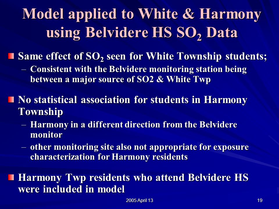 2005 April 13 19 Same effect of SO 2 seen for White Township students; –Consistent with the Belvidere monitoring station being between a major source of SO2 & White Twp No statistical association for students in Harmony Township –Harmony in a different direction from the Belvidere monitor –other monitoring site also not appropriate for exposure characterization for Harmony residents Harmony Twp residents who attend Belvidere HS were included in model Model applied to White & Harmony using Belvidere HS SO 2 Data