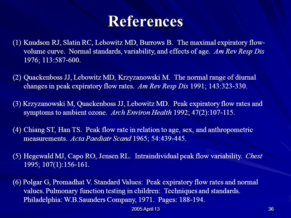2005 April 13 36 References (1)Knudson RJ, Slatin RC, Lebowitz MD, Burrows B.