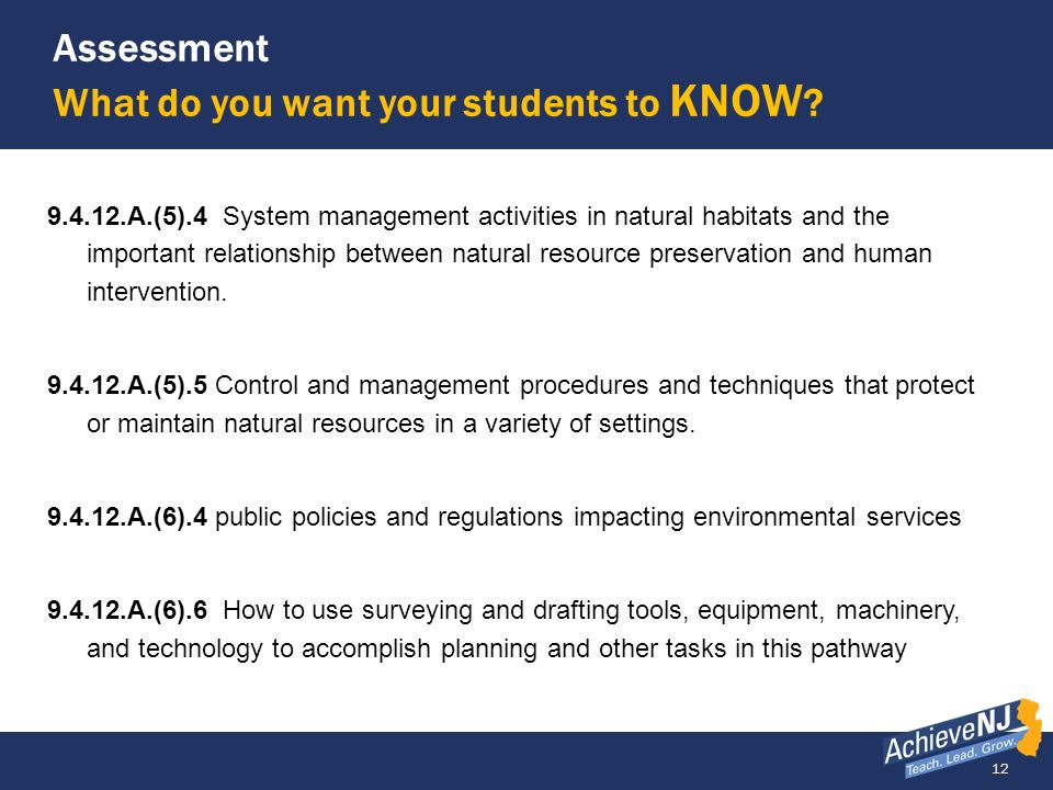 12 Assessment What do you want your students to KNOW ? 9.4.12.A.(5).4 System management activities in natural habitats and the important relationship