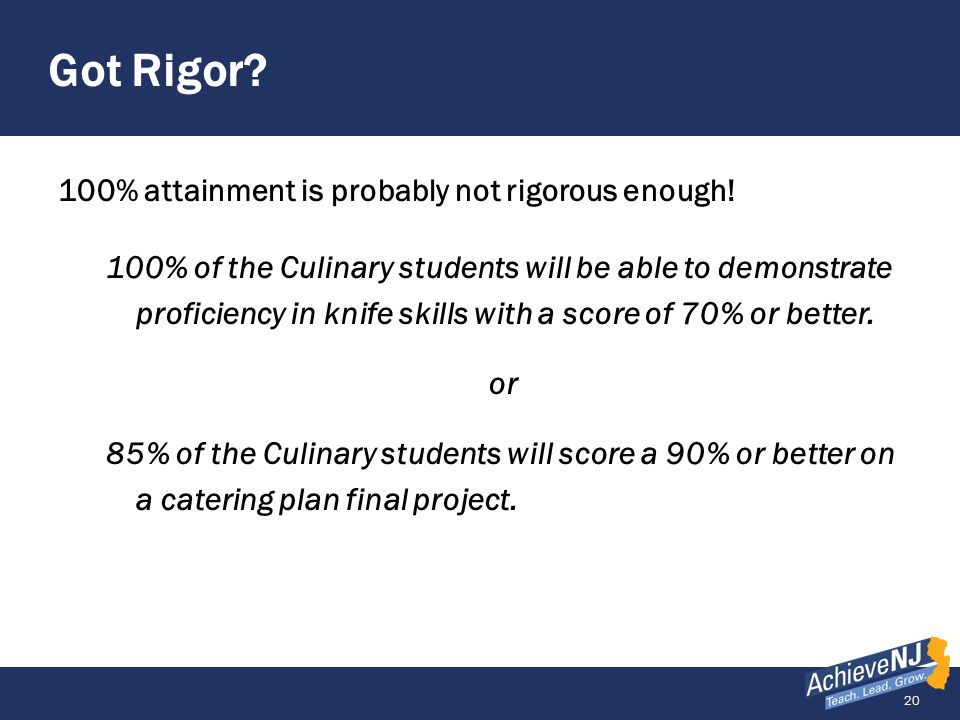 20 Got Rigor? 100% attainment is probably not rigorous enough! 100% of the Culinary students will be able to demonstrate proficiency in knife skills w