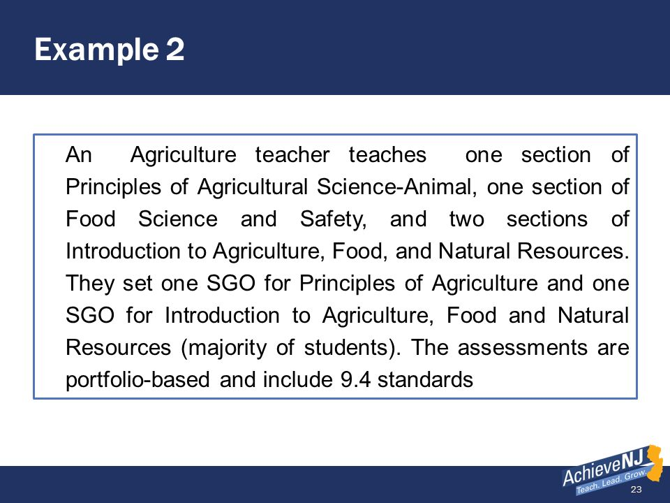 23 Example 2 An Agriculture teacher teaches one section of Principles of Agricultural Science-Animal, one section of Food Science and Safety, and two