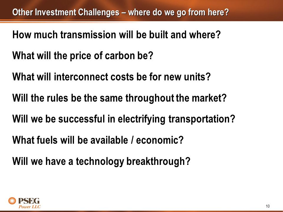 10 Other Investment Challenges – where do we go from here.
