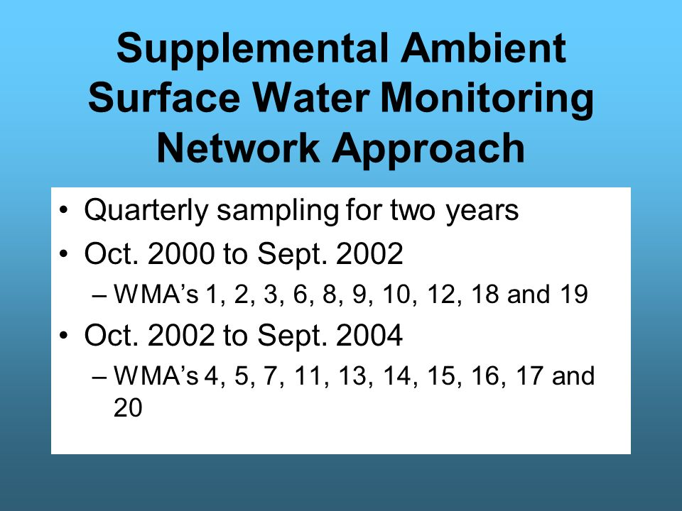 177 Sites for 2 Years of Quarterly Sampling Parameters - nutrients, flow, and field parameters Supplemental Ambient Surface Water Monitoring Network Sites CY2000 - 2004