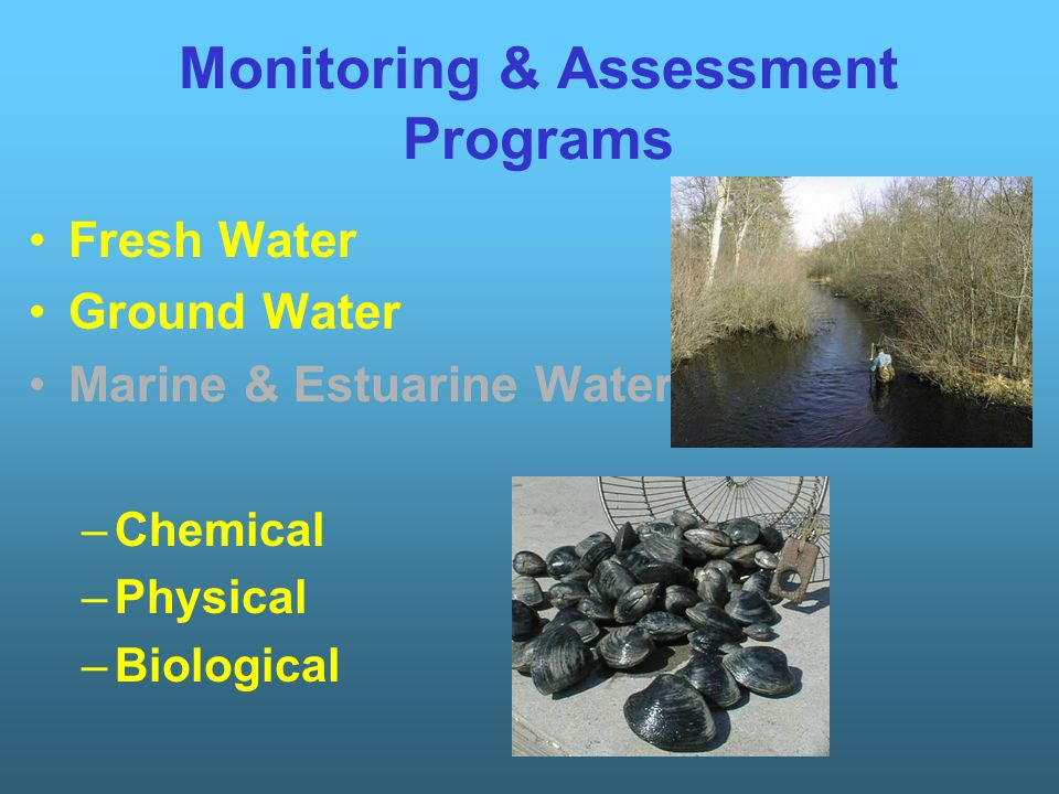 Monitoring & Assessment Programs Fresh Water Ground Water Marine & Estuarine Water –Chemical –Physical –Biological