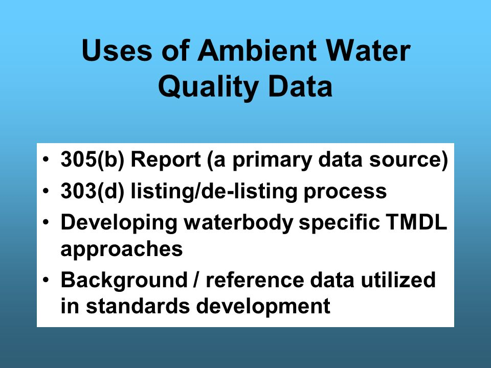 Access to Freshwater & Biological Data Hard Copy Reports (609-292-0427) Geographical Information System USEPA STORET National Database http://www.epa.gov/STORET/dbtop.html USGS National Database - NWIS http://waterdata.usgs.gov/nwis WM&S/BFBM Website: –http://www.state.nj.us/dep/wmm/bfbm/