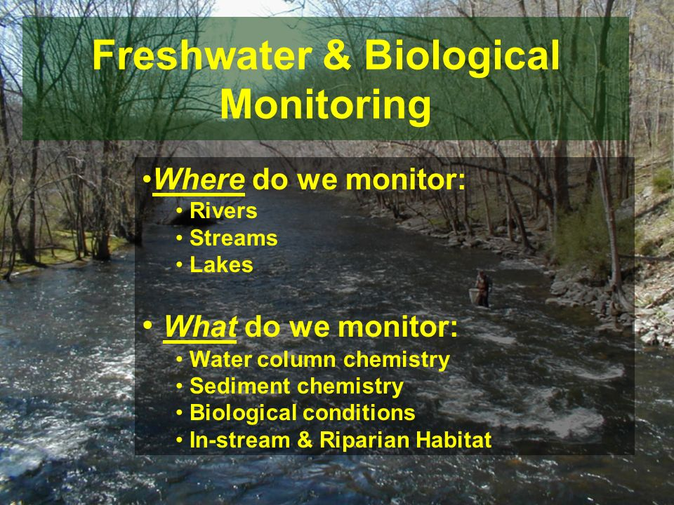 Freshwater & Biological Monitoring Where do we monitor: Rivers Streams Lakes What do we monitor: Water column chemistry Sediment chemistry Biological conditions In-stream & Riparian Habitat