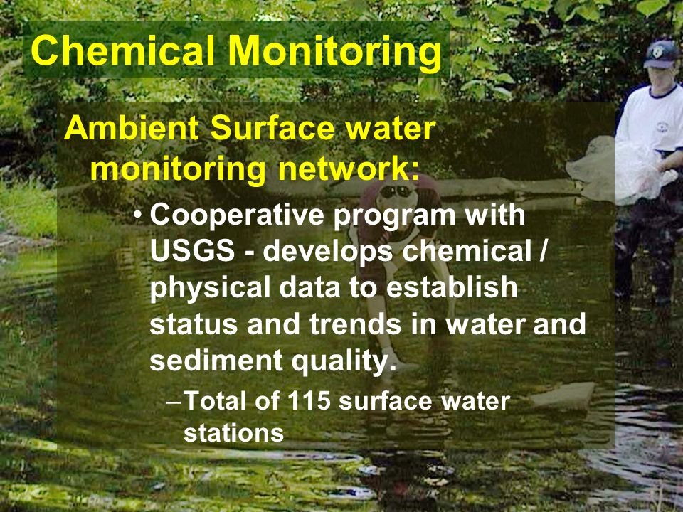 Ambient Surface water monitoring network: Cooperative program with USGS - develops chemical / physical data to establish status and trends in water and sediment quality.