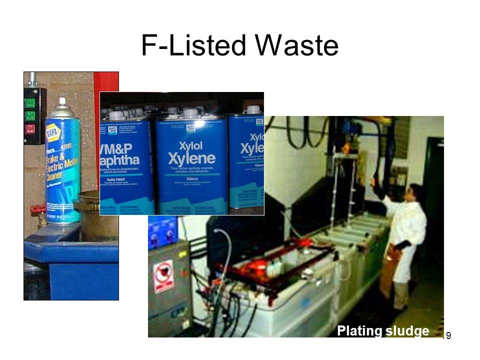 19 F-Listed Waste Plating sludge