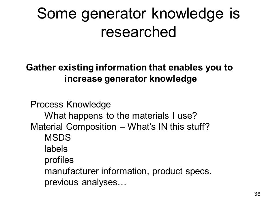 36 Some generator knowledge is researched Process Knowledge What happens to the materials I use.