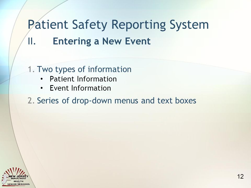 1.Two types of information Patient Information Event Information 2.Series of drop-down menus and text boxes Patient Safety Reporting System II.Enterin