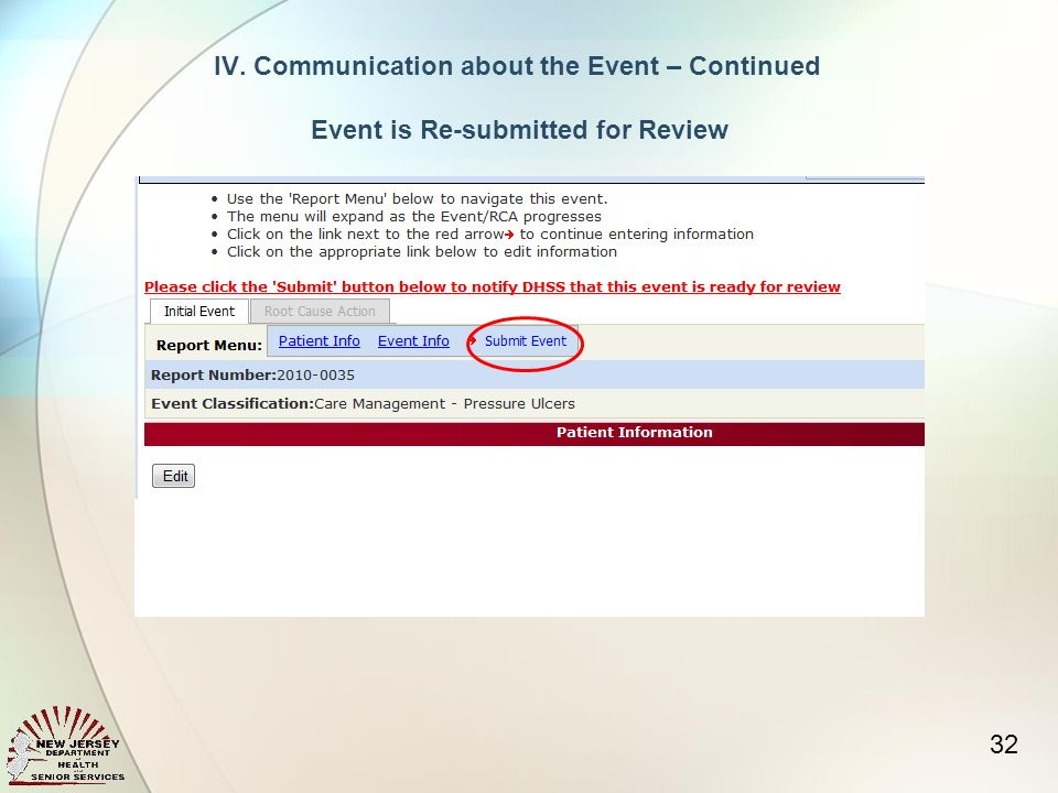 32 IV.Communication about the Event – Continued Event is Re-submitted for Review