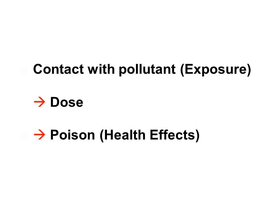 Contact with pollutant (Exposure) Dose Poison (Health Effects)