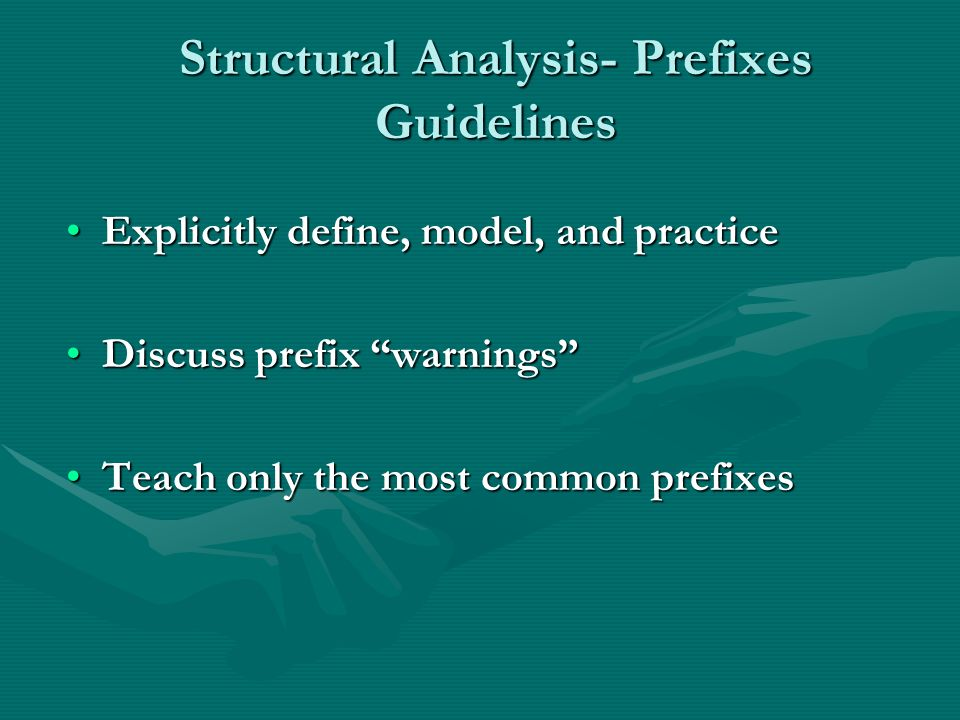 Structural Analysis- Prefixes Guidelines Explicitly define, model, and practiceExplicitly define, model, and practice Discuss prefix warningsDiscuss prefix warnings Teach only the most common prefixesTeach only the most common prefixes
