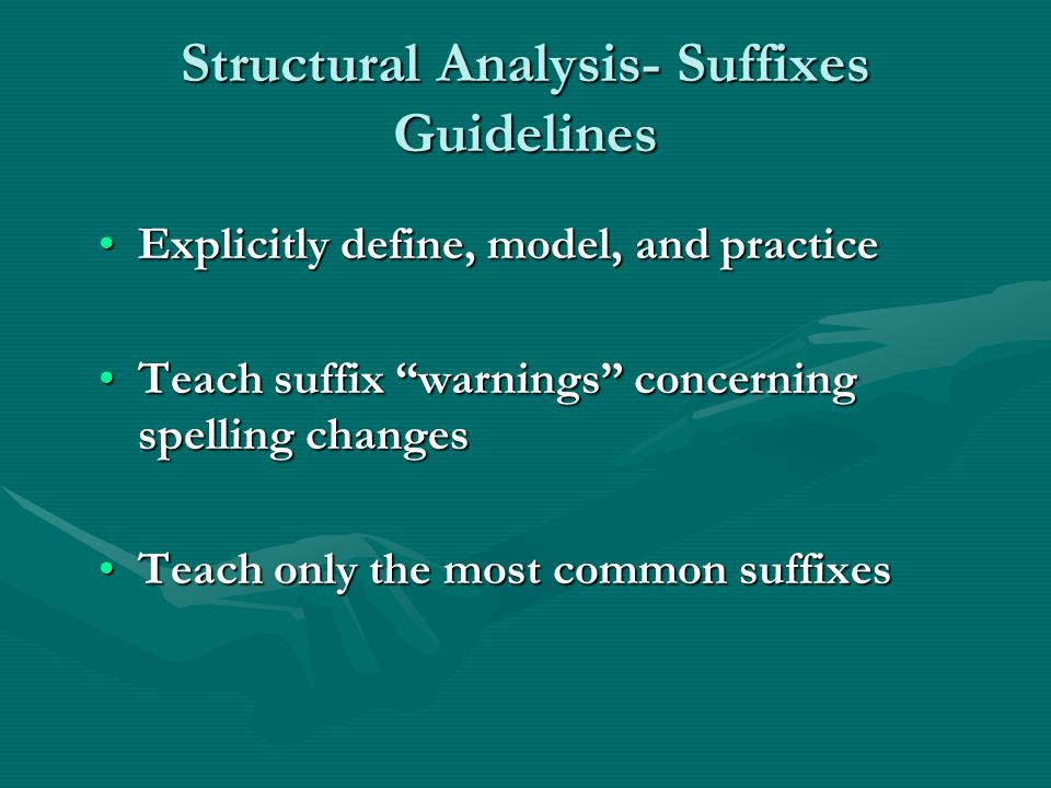 Structural Analysis- Suffixes Guidelines Explicitly define, model, and practiceExplicitly define, model, and practice Teach suffix warnings concerning spelling changesTeach suffix warnings concerning spelling changes Teach only the most common suffixesTeach only the most common suffixes