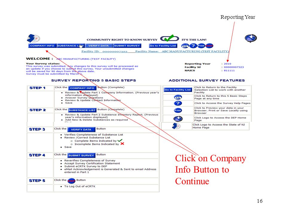 16 Reporting Year Click on Company Info Button to Continue