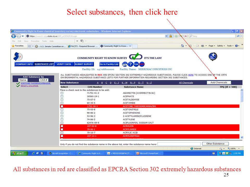 25 All substances in red are classified as EPCRA Section 302 extremely hazardous substances Select substances, then click here
