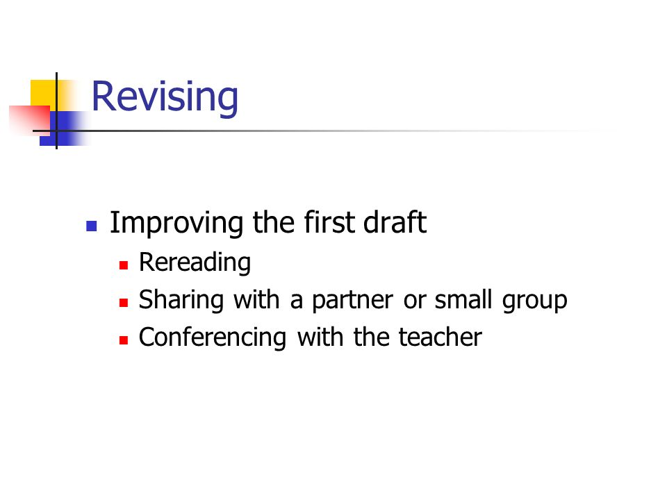 Revising Improving the first draft Rereading Sharing with a partner or small group Conferencing with the teacher