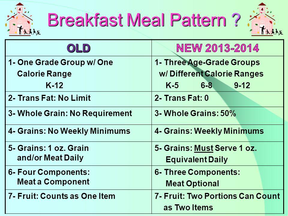 Option #1 1- Grains 1 oz.2- Grain 1 oz. 3- Fruit/Juice/Veg ½ cup 4- Milk Option #2 1- Grains 1 oz.