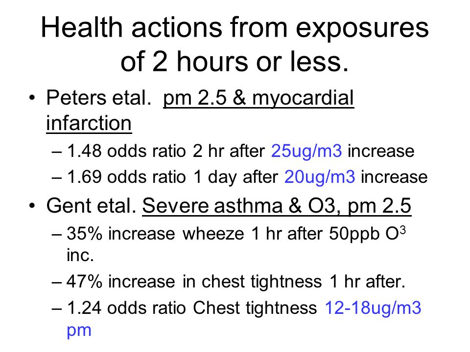 Health actions from exposures of 2 hours or less. Peters etal.