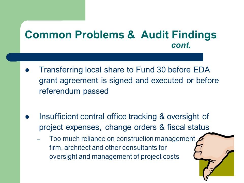 Common Problems & Audit Findings cont.