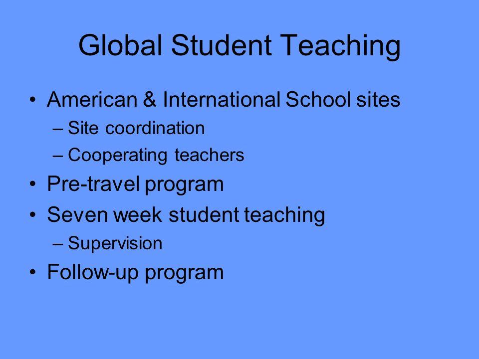Global Student Teaching American & International School sites –Site coordination –Cooperating teachers Pre-travel program Seven week student teaching –Supervision Follow-up program