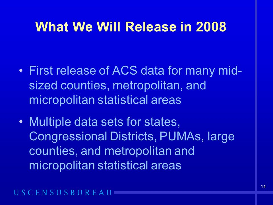 14 What We Will Release in 2008 First release of ACS data for many mid- sized counties, metropolitan, and micropolitan statistical areas Multiple data sets for states, Congressional Districts, PUMAs, large counties, and metropolitan and micropolitan statistical areas