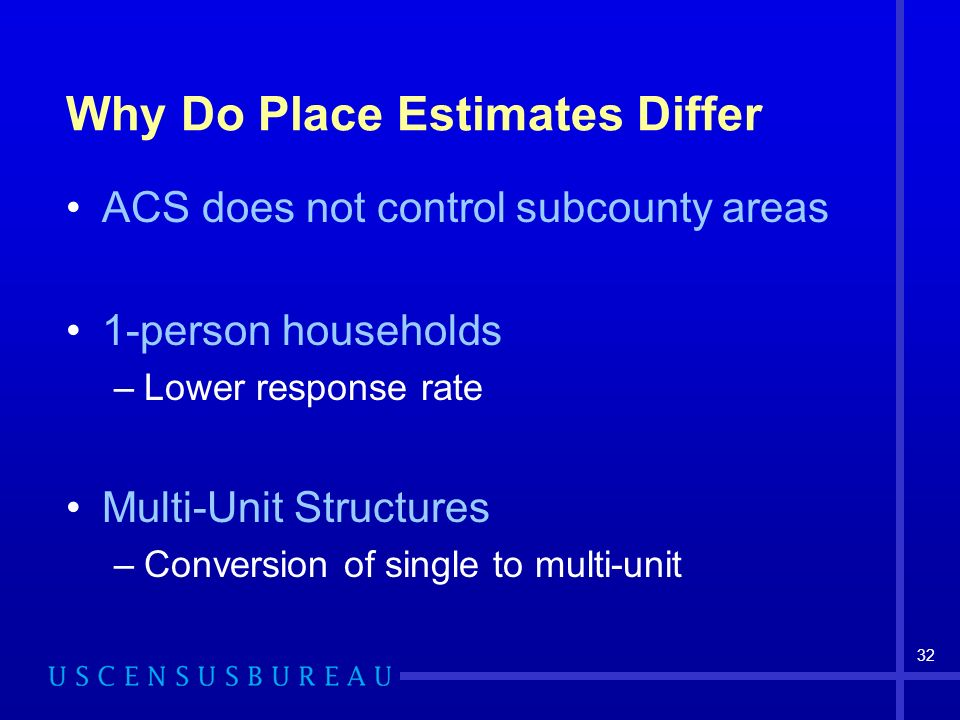 32 Why Do Place Estimates Differ ACS does not control subcounty areas 1-person households –Lower response rate Multi-Unit Structures –Conversion of single to multi-unit
