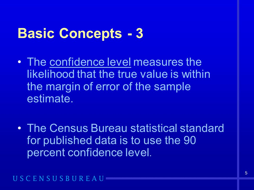 5 Basic Concepts - 3 The confidence level measures the likelihood that the true value is within the margin of error of the sample estimate.
