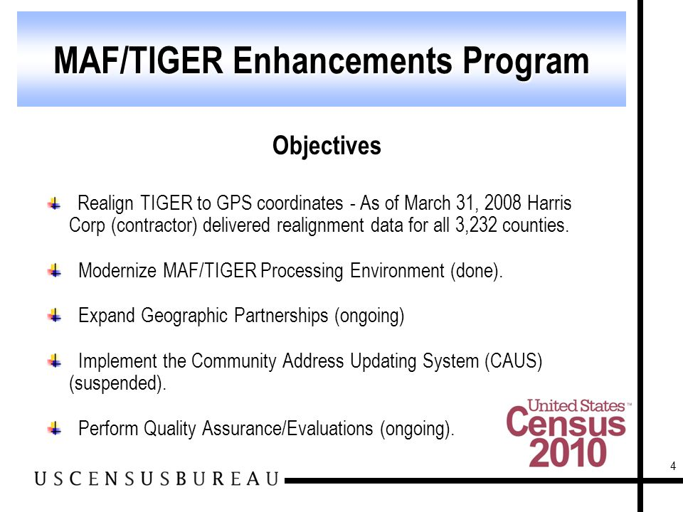 4 Objectives Realign TIGER to GPS coordinates - As of March 31, 2008 Harris Corp (contractor) delivered realignment data for all 3,232 counties.