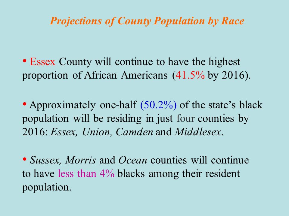 Projections of County Population by Race Cape May County is projected to continue to have the highest proportion of non-Hispanic whites in its population (88% in 2016).