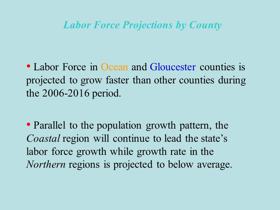 Labor Force Projections by County Labor force is projected to increase in every county from 2006 to 2016.