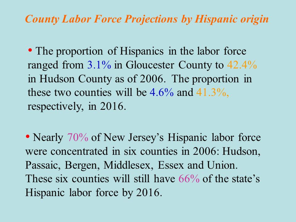 County Labor Force Projections by Hispanic origin Hispanic labor force is projected to grow faster than their non-Hispanic counterparts in all counties from 2006 to 2016.