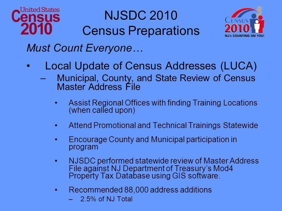 NJSDC 2010 Census Preparations Must Count Everyone… Local Update of Census Addresses (LUCA) –Municipal, County, and State Review of Census Master Address File Assist Regional Offices with finding Training Locations (when called upon) Attend Promotional and Technical Trainings Statewide Encourage County and Municipal participation in program NJSDC performed statewide review of Master Address File against NJ Department of Treasurys Mod4 Property Tax Database using GIS software.