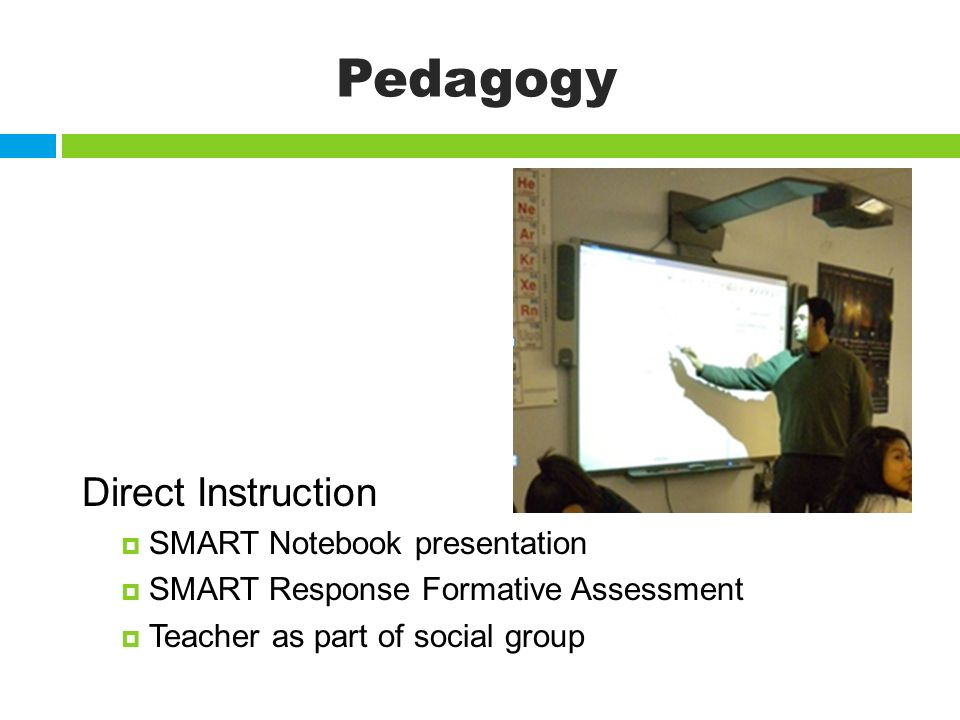 Pedagogy Direct Instruction SMART Notebook presentation SMART Response Formative Assessment Teacher as part of social group