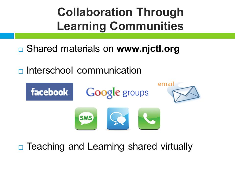 Collaboration Through Learning Communities Shared materials on www.njctl.org Interschool communication Teaching and Learning shared virtually