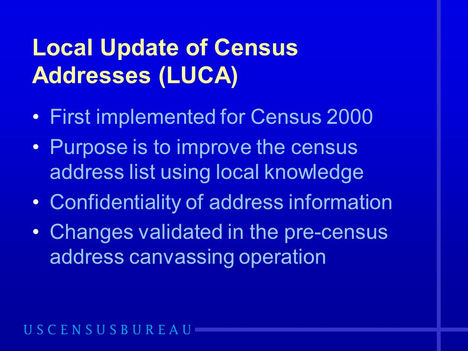 Local Update of Census Addresses (LUCA) First implemented for Census 2000 Purpose is to improve the census address list using local knowledge Confidentiality of address information Changes validated in the pre-census address canvassing operation