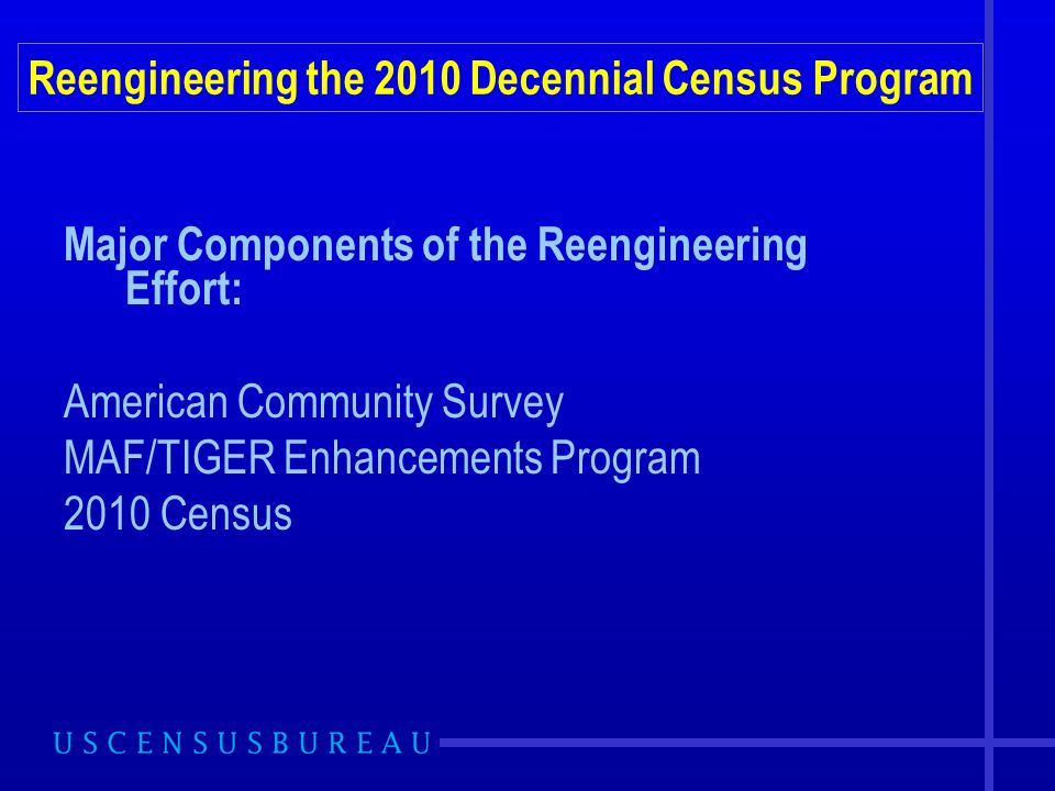 Major Components of the Reengineering Effort: American Community Survey MAF/TIGER Enhancements Program 2010 Census Reengineering the 2010 Decennial Census Program