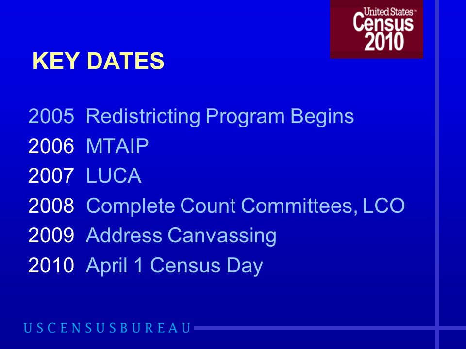 Statistical Areas Programs Census tracts, block groups, census county divisions, census designated places Criteria announced in Federal Register Comments due before July 5, 2007